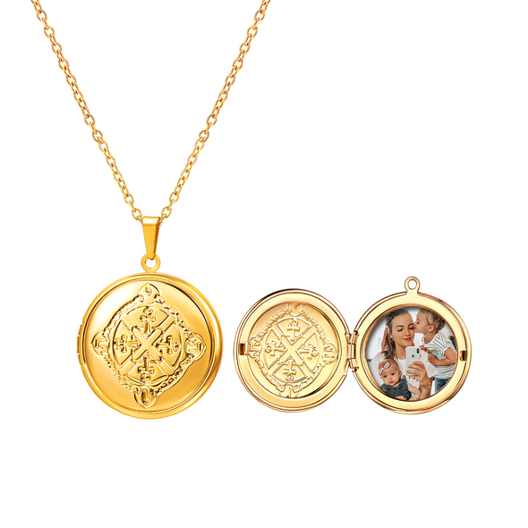Ankh Photo Locket Necklace Egyptian Cross Pendent For Women