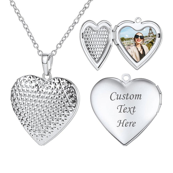 Personalized Dotted Heart Custom Photo Locket Pendant Necklace