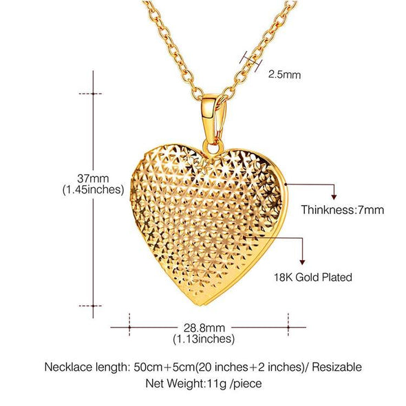 Dotted Heart Locket Necklace Personalized Jewelry Gift For Women