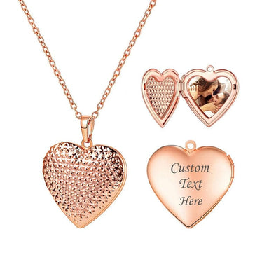 Personalized Dotted Engraved Heart Photo Locket Women's Custom Necklace