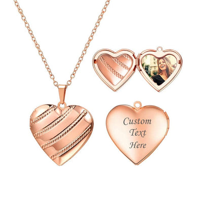 Personalized Engraved Diagonal Stripes Heart Custom Photo Locket Necklace