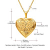 Heart Locket Necklace Flower Engraved Necklaces Jewelry Gift For Women