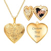 Engraved Heart Classic Embossed Flower Custom Photo Locket Necklace 18K Gold Plated