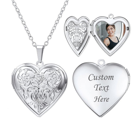 Engraved Heart Classic Embossed Flower Custom Photo Locket Necklace