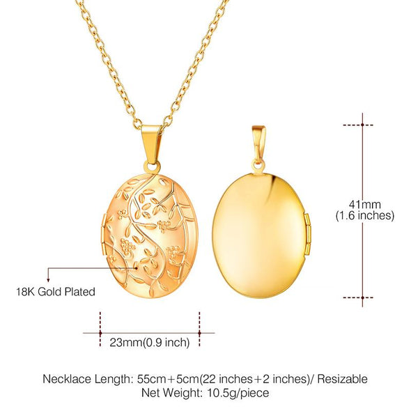 Engraved Oval Photo Locket Necklace Embossed Flower Branch