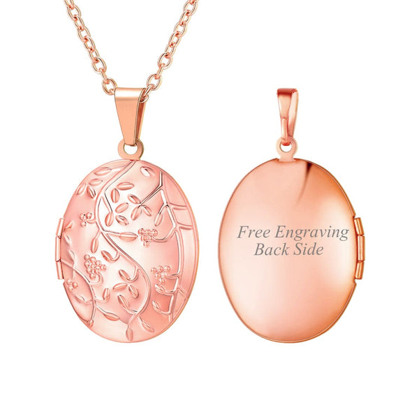 Personalized Engraved Oval Photo Locket Necklace Embossed Flower Branch