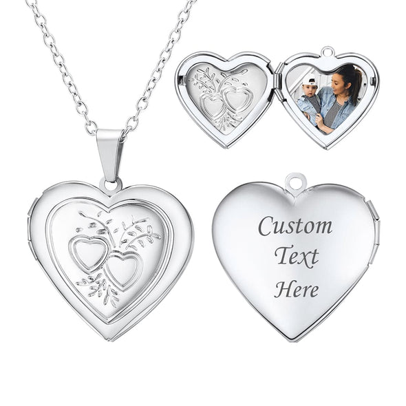 Engravable Heart Custom Photo Locket Necklace for Women