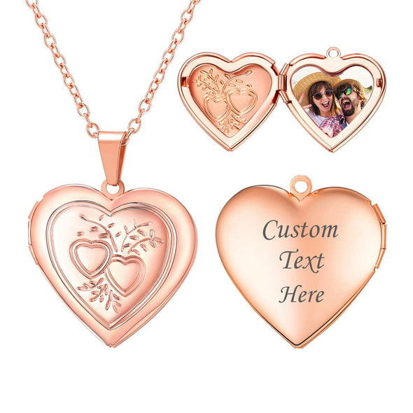 Personalized Engravable Heart Custom Photo Locket Necklace for Women