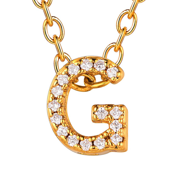 Cubic Zirconia Initial Necklace Letter A-Z Personalized Pendant Choker