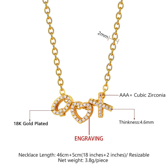 Cubic Zirconia Initial Necklace Letter A-Z Personalized Pendent Choker 18K Gold Plated
