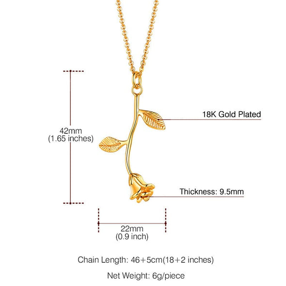 18k Gold Plated Classic Stem Yellow Rose Flower Choker Necklace For Women