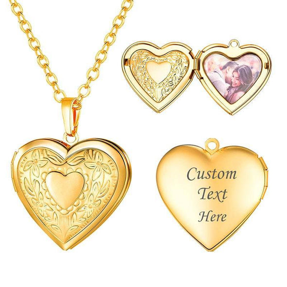 Personalized Text Engravable Heart Custom Photo Locket Pendent Necklace