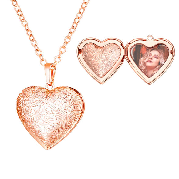 Classic Floral Patterned Heart Locket Necklace Custom Photo Pendent