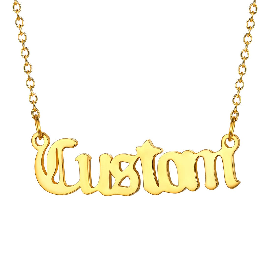 Personalized Classic Old English Name Necklace In 18K Gold Platinum Plated