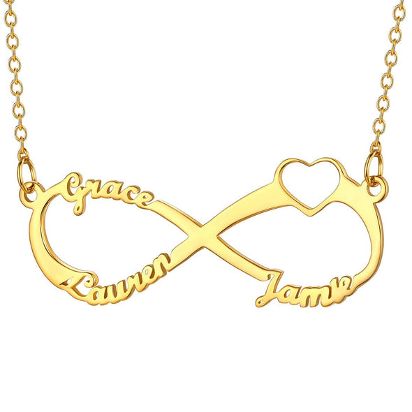 Personalized Classic Infinity Style Heart 3 Names Necklace Pendent