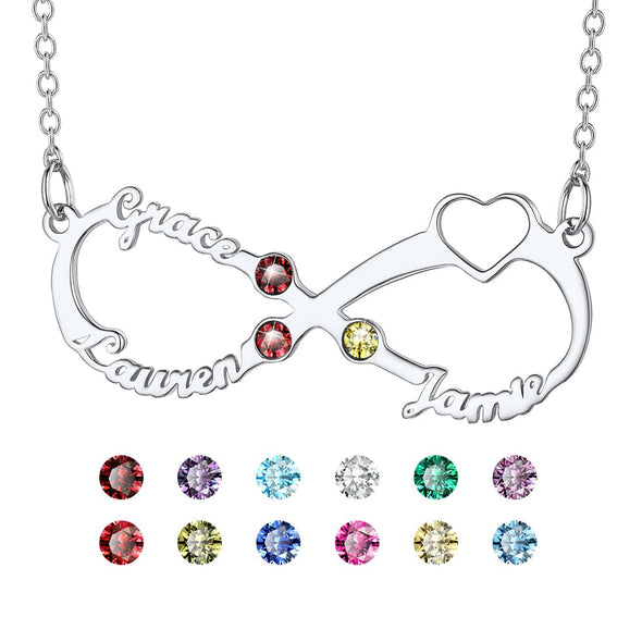 Personalized Heart Infinity Style 3 Names Necklace with Birthstones