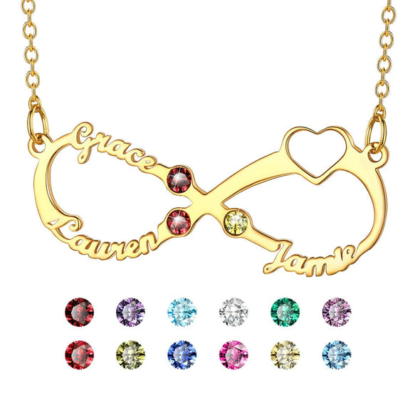 Personalized Heart Infinity Style Name Necklace with Birthstones