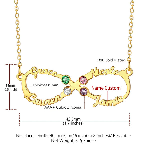 Personalized Classic Infinity 4 Names Necklace with Birthstones