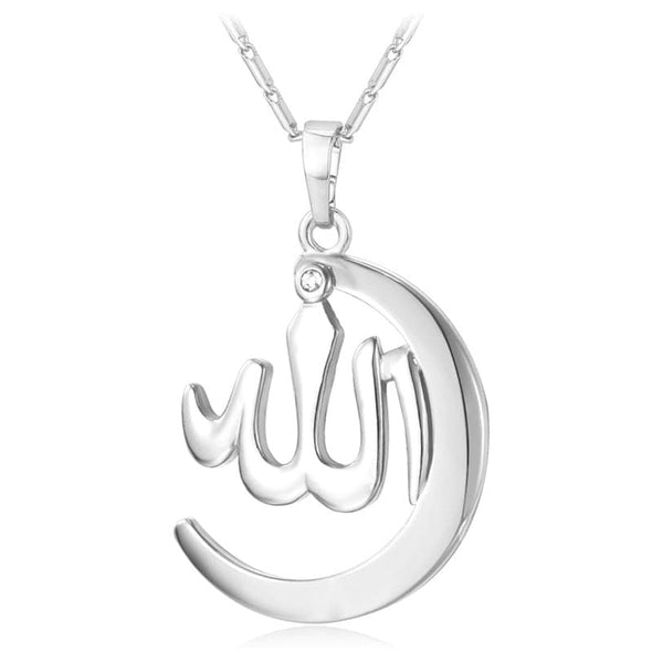 Simple Muslim Allah Necklace Crescent Charm Islamic Religious Pendant