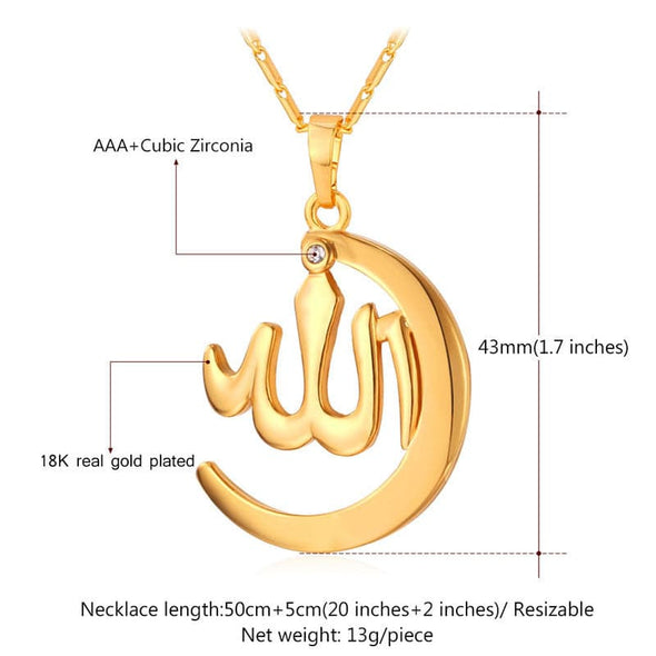 Muslim Allah Necklace & Pendant For Women Islamic Crescent Moon Jewelry