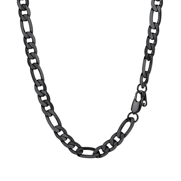Gold chain for men and women hiphop classic 316L stainless steel 18K gold/black plated Figaro chain necklace