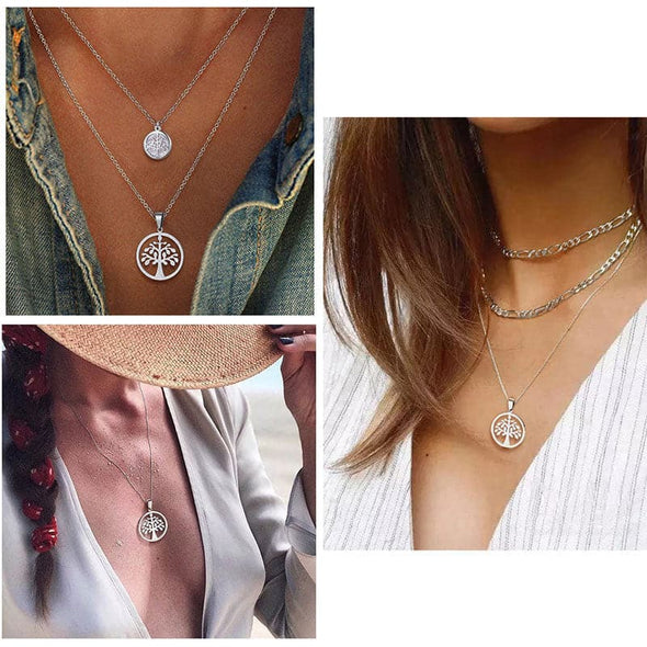 Tree Of Life Pendant Necklace Earring Sets Hollow Wishing Tree Wheat Chain Coin Jewelry For Women