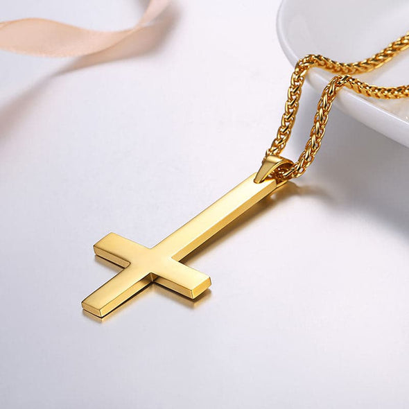 Personal Engraving Punk Rock Inverted Cross Pendant Necklace In Stainless Steel For Men