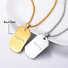 Unique customize 316L stainless steel 18K gold plated enamel engraving fingerprint dog tag necklace with rope chain