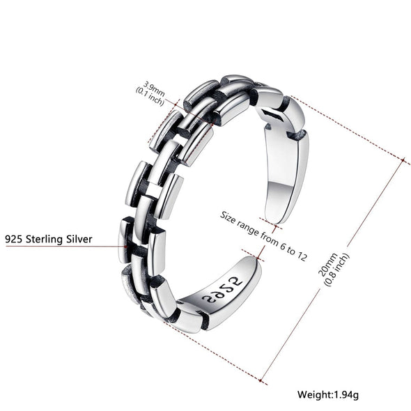 925 Sterling Silver Ring Stackable Resizable Personality Open End For Women Men