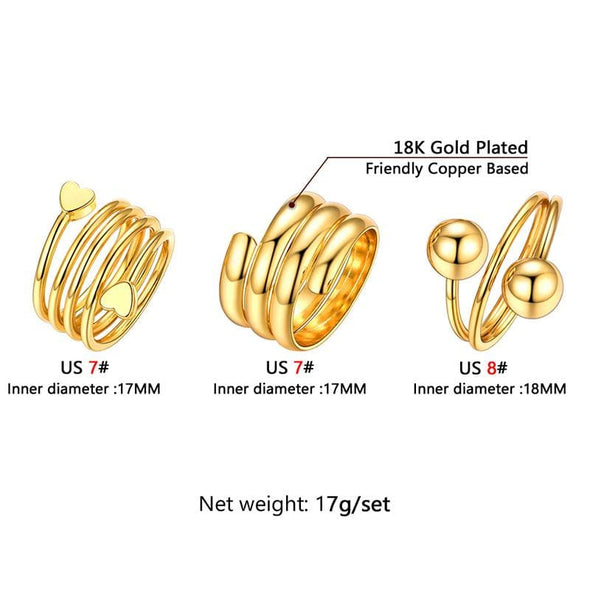 18k Gold Plated Spiral Open Spring Three Full Finger Ring Set for Women