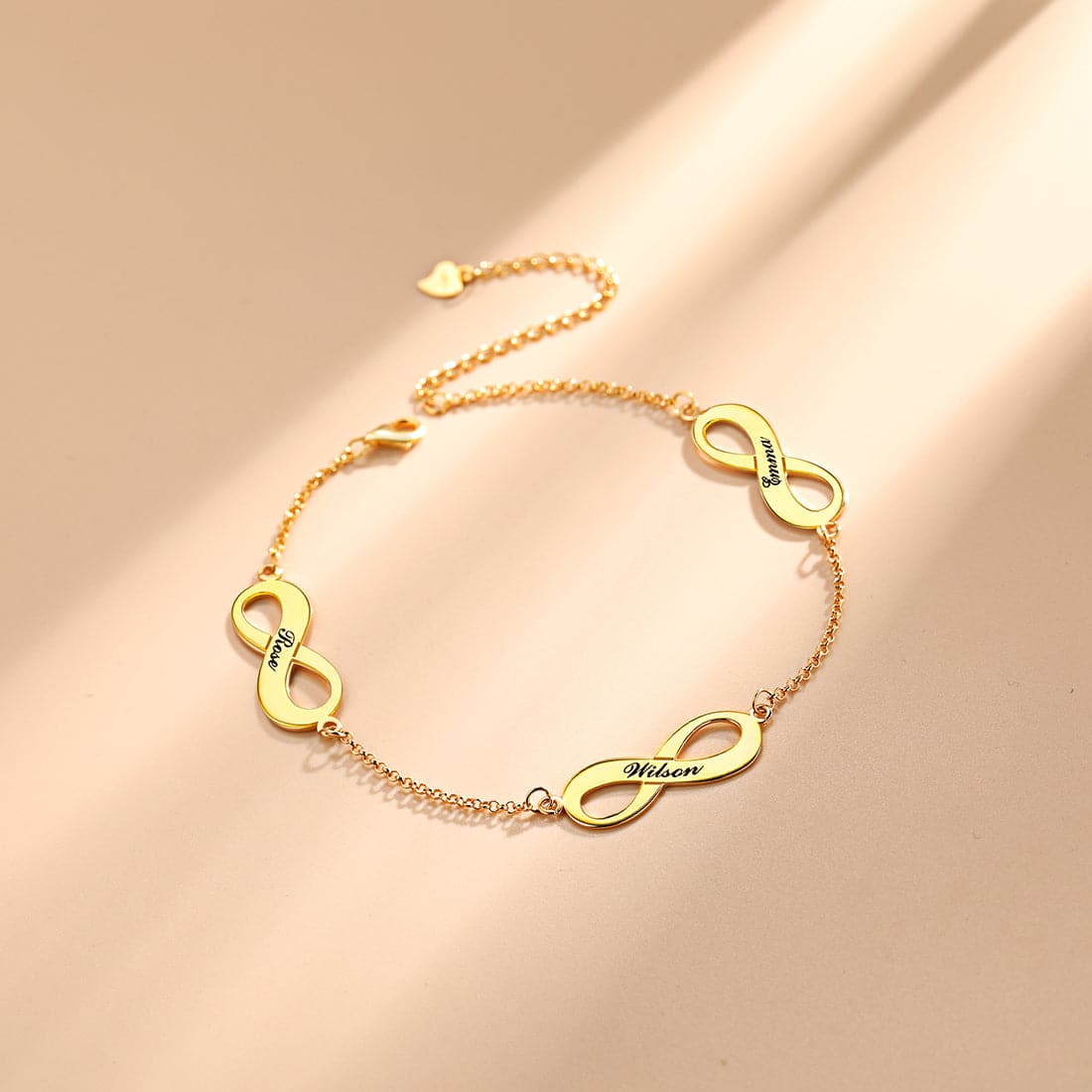 Dainty customized 925 sterling silver 18k gold plated personalized engravable infinity symbol name charm abklet bracelet for women girls, symbolizes eternity and everlasting love & friendship.