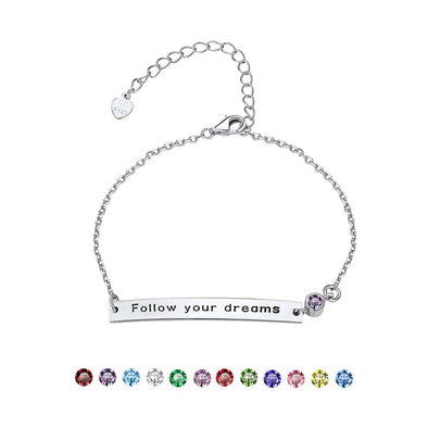 925 Sterling Silver Personalized Engraving Bar Bracelet With Birthstone For Women