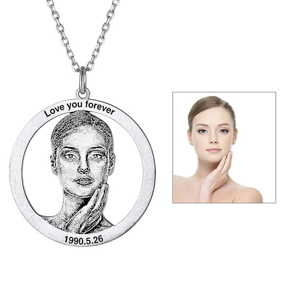 Statement Portrait Necklace 925 Sterling Silver Custom Photo Jewelry