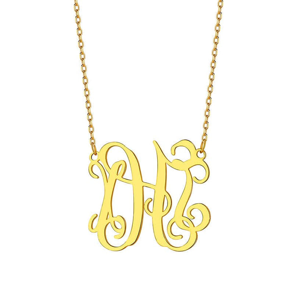 925 Sterling Silver Personal Custom Three  Initials Monogram Necklace