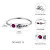 925 Sterling Silver Personalized Custom Engraving Name Bar Ring With Personal Birthstone for Women