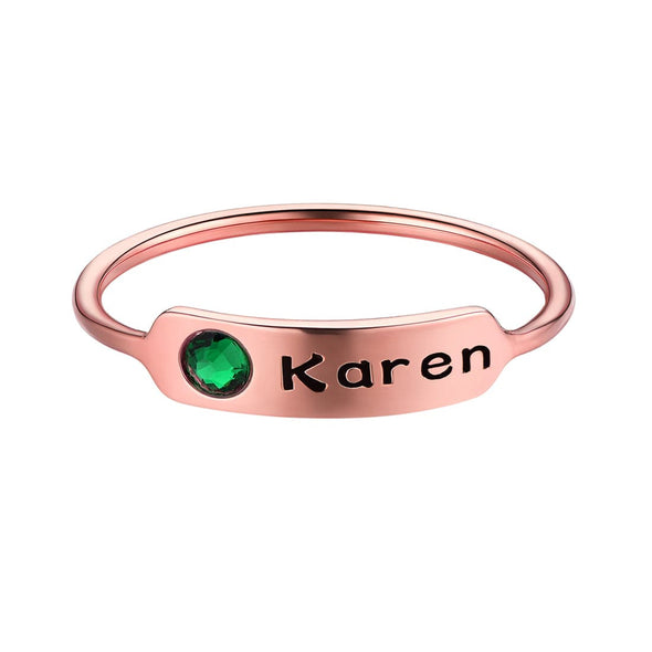 Personalized Engraving Name Bar Ring 925 Sterling Silver Custom Birthstone For Women