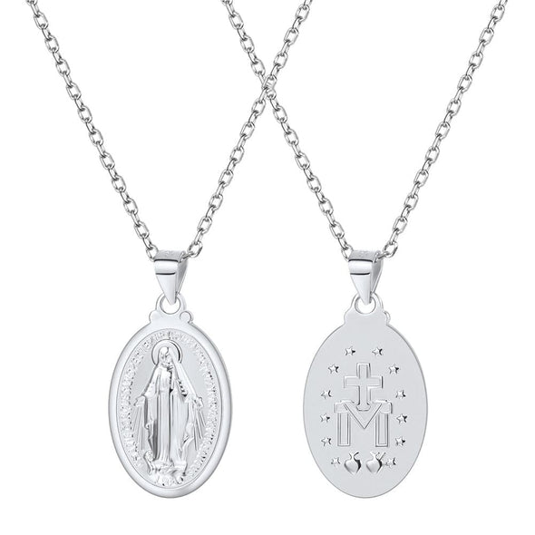 925 Sterling Silver Oval Catholic Christian Virgin Mary Pendant Necklace