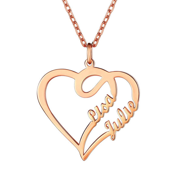 Couple Custom Names Heart Necklace 925 Sterling Silver Statement Jewelry