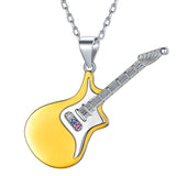 Highly Polished 925 Sterling Silver Two-Tone Guitar Music Instrument Pendant Necklace for Men and Women