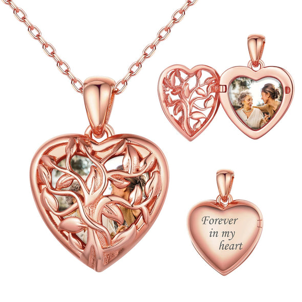 925 Sterling Silver Family Tree Personalized Heart Photo Locket Necklace