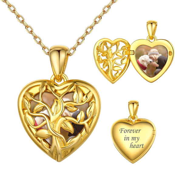 Family Tree Personalized Heart Photo Locket Necklace 925 Sterling Silver