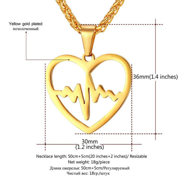 Heartbeat Necklace EKG Pendant Heart shaped Engravable Love Jewelry