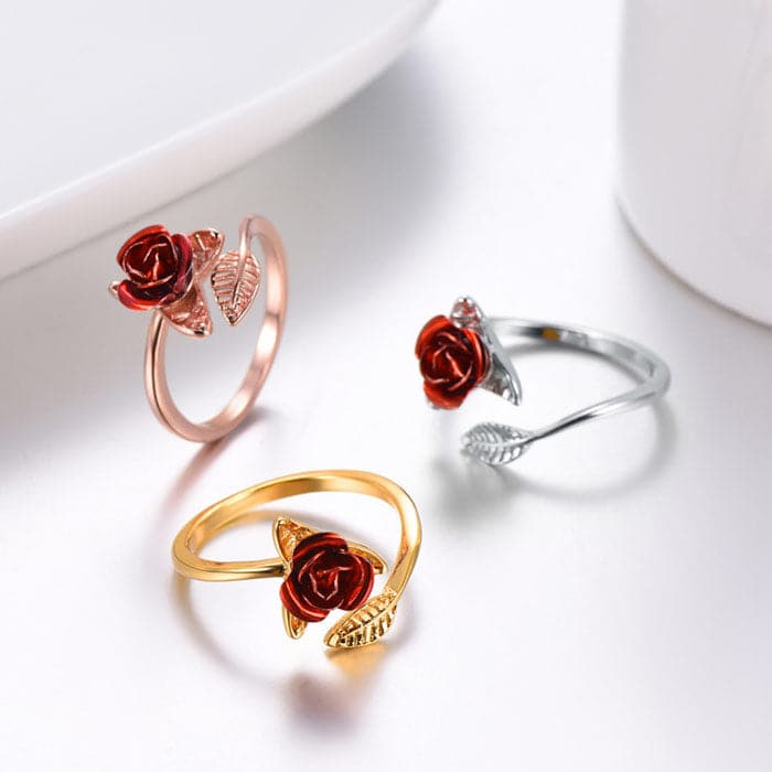 Red Rose Flower Ring 18K Gold /Rose Gold Plated/ 316L Stainless Steel Jewelry Gifts For Women