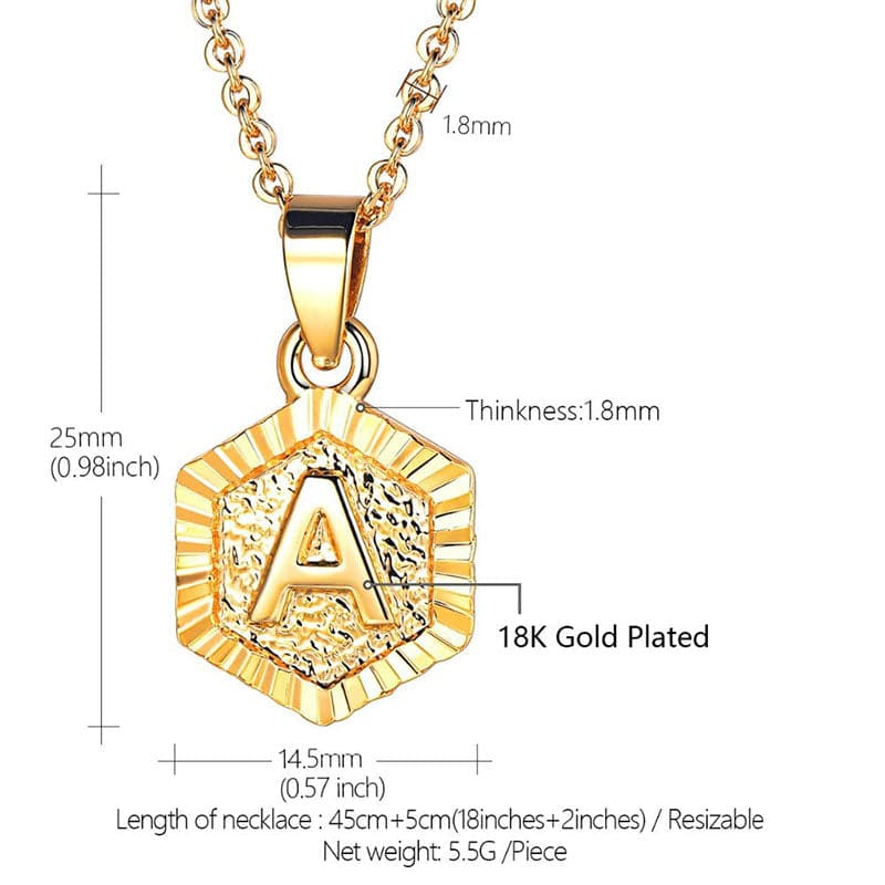 Chic Tiny Hexagon monogram Initial Letter A-Z Pendant Necklace For Women and Men