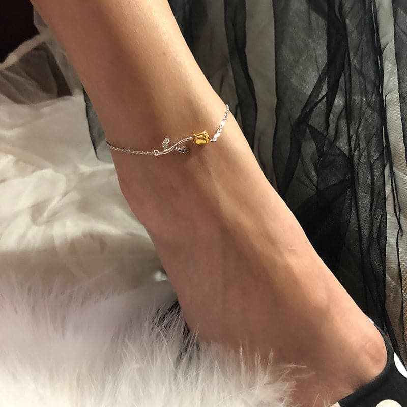 Retro yet modern female 925 sterling silver stemmed 18K gold plated rose flower rolo chain anklet summer barefoot jewelry