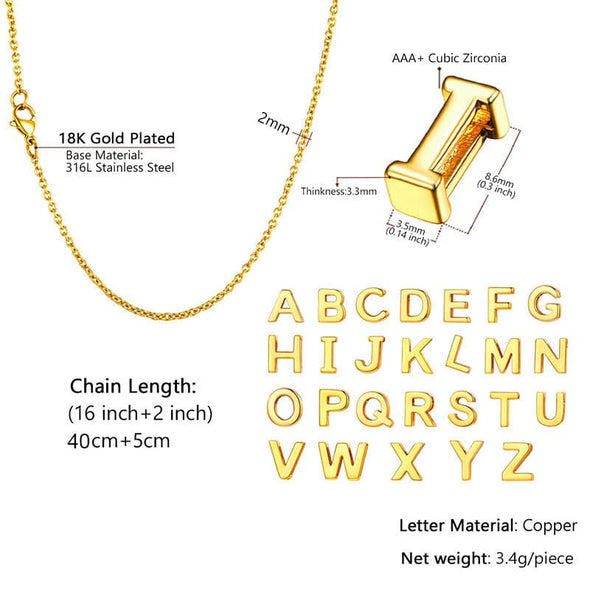 18k Gold Plated Classic Polished Small Initial Single Letter Alphabet A-Z Pendant Choker Necklace