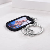 Custom Photo Engraving Dog Tag Keychain In Stainless Steel for Keys