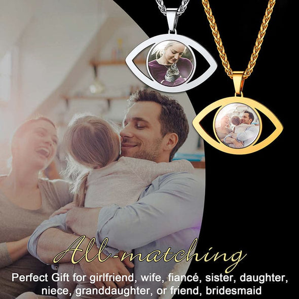 Chic Turkish 18k gold/platinum plated engraved custom photo picture evil eye necklace lucky protection necklace for men women