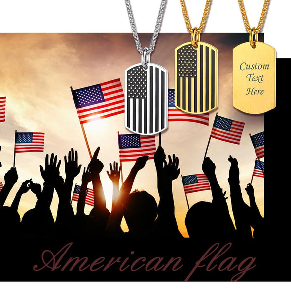 Personalized Engraving Two Tone American Flag Necklace Dog Tag for Men