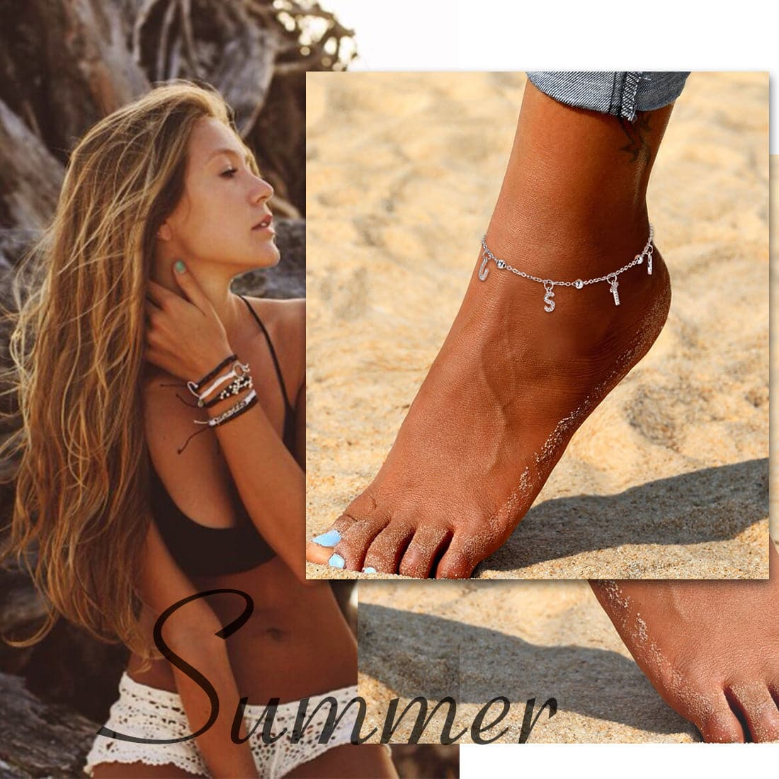Simple custom 18k gold/platinum plated personalized alphabet charm anklet barefoot bracelet for women girls